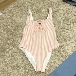 Pink striped one piece bathing suit